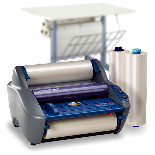 GBC Ultima 35 EzLoad Roll Laminator Starter Kit with 2 Rolls of Film and Optional Work Station (1701680-K)
