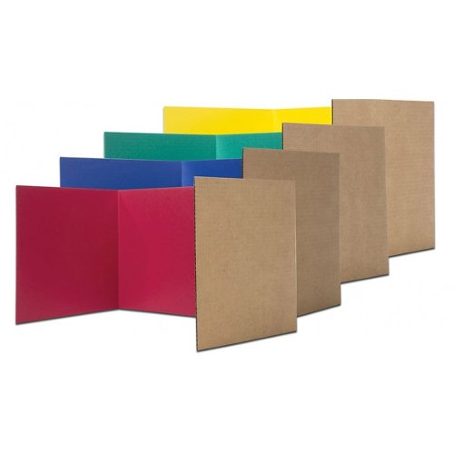 "Flipside 18"" x 48"" Assorted Colored Corrugated Board Privacy Screens - 24pk (FS-61849)"