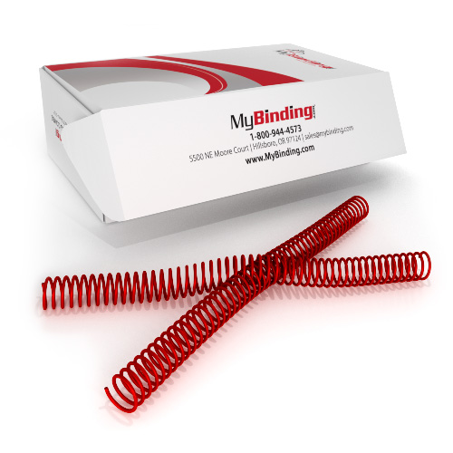 18mm Ruby Red 4:1 Pitch Spiral Binding Coil - 100pk (P111-18-12), Binding Supplies Image 1