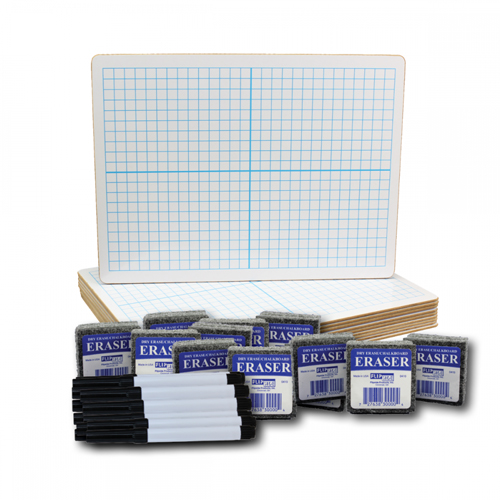 "Flipside 9"" x 12"" Two-Sided XY Axis/Plain Dry Erase Lap Board with Black Pen and Eraser - Set of 12 Each (FS-19000), Boards Image 1"