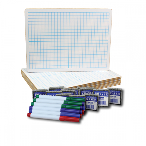 "Flipside 9"" x 12"" Two-Sided XY Axis/Plain Dry Erase Lap Board with Colored Pen and Eraser - Set of 12 Each (FS-19100) Image 1"