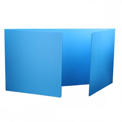 "Flipside 12"" x 48"" Blue Corrugated Plastic Study Carrels- 24pk (FS-19272-24) Image 1"