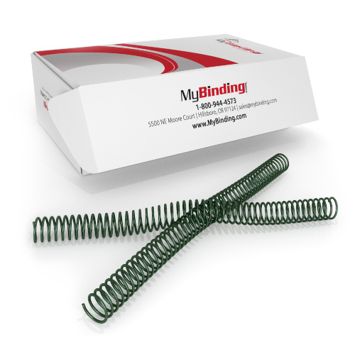 19mm Metallic Forest 4:1 Pitch Spiral Binding Coil - 100pk (P4MF1912), Binding Supplies Image 1