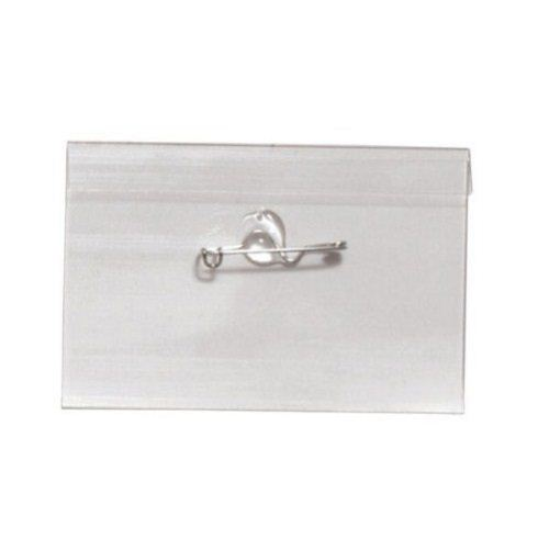 "2-1/4"" x 3-1/2"" Rigid Vinyl Name Tag Holders with Pins - 100pk (1825-2500) Image 1"
