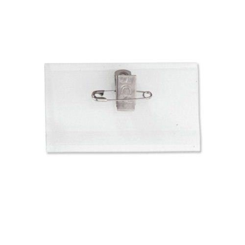 "2-1/4"" x 3-7/16"" Rigid Vinyl Badge Holder with Pin Clip Combo - 100pk (1825-2005) Image 1"