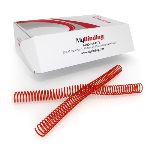 22mm Red 4:1 Pitch Spiral Binding Coil - 100pk (P110-22-12) Image 1