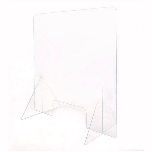 "23.75"" x 47.75"" Clear Acrylic Safety Barrier / Sneeze Guard for Service Counter (97PPESG48) Image 1"