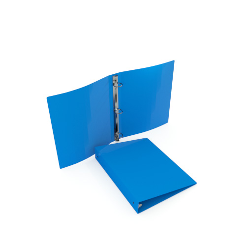 "1/2"" Colonial Blue 23 Gauge 5.5"" x 8.5"" Poly Round Ring Binders - 100pk (MYPBCBLU23120H) Image 1"