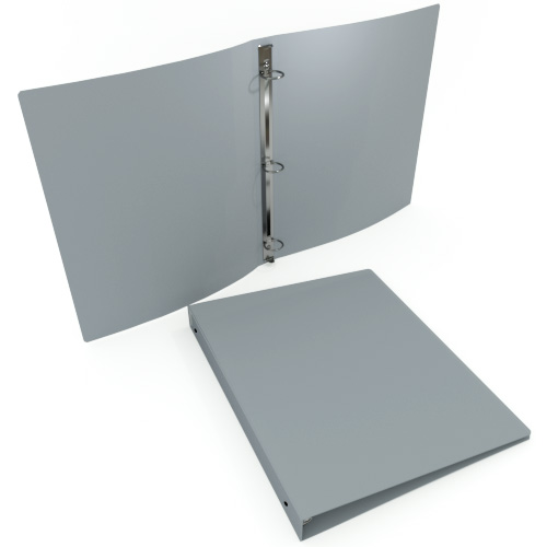 "1-1/2"" Gray 23 Gauge 11"" x 8.5"" Poly Round Ring Binders - 100pk (MYPBGRY23112) - $231.09 Image 1"