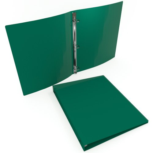 "1"" Green 23 Gauge 11"" x 8.5"" Poly Round Ring Binders - 100pk (MYPBGRN23100) Image 1"