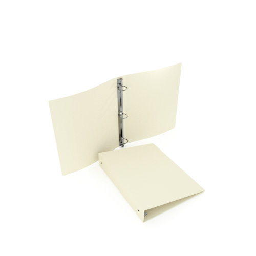 "1-1/2"" Ivory 23 Gauge 5.5"" x 8.5"" Poly Round Ring Binders - 100pk (MYPBIVY23112H) Image 1"