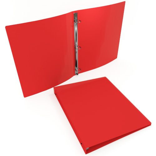 "1"" Red 23 Gauge 11"" x 8.5"" Poly Round Ring Binders - 100pk (MYPBRED23100) Image 1"