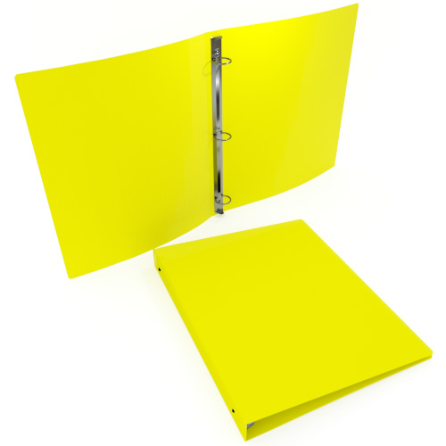 "1"" Yellow 23 Gauge 11"" x 8.5"" Poly Round Ring Binders - 100pk (MYPBYW23100) Image 1"