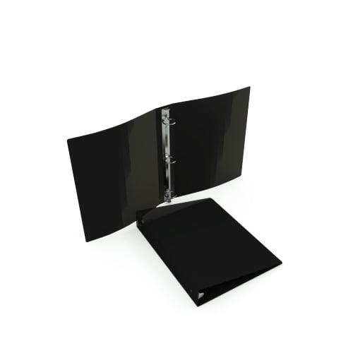 """23 Gauge Black 5.5"""" x 8.5"""" Poly Round Ring Binders - 100pk (MYPBBLK23H) Image 1"""