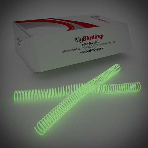 23mm Glow in the Dark 4:1 Pitch Spiral Binding Coil - 100pk (P4GID2312) - $70.09 Image 1