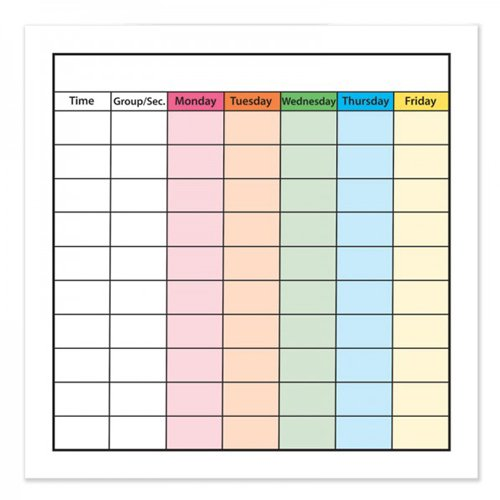 """Frameworks 24"""" x 24"""" Class Schedule Chart Dry-Erase Film w/ Adhesive Backing - 3pk (FW-90503) - $59.97 Image 1"""