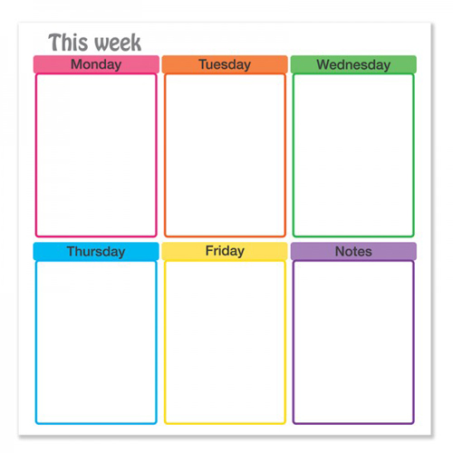 "Frameworks 24"" x 24"" Weekdays Schedule Chart Dry-Erase Film w/ Adhesive Backing -3pk (FW-90103)"