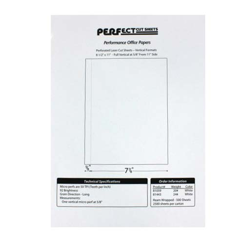 "Performance Office Papers 24lb Vertical 8.5"" X 11"" Perforated Paper 5/8"" from left - 2500 sheets (POP81443) Image 1"