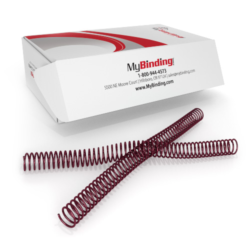 25mm Burgundy 4:1 Pitch Spiral Binding Coil - 100pk (P113-25-12) - $56.69 Image 1