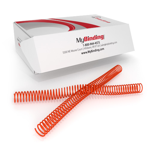 25mm College Orange 4:1 Pitch Spiral Binding Coil - 100pk (P4CO2512) Image 1
