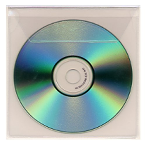 "5-1/8"" x 5-1/2"" Clear Vinyl Adhesive Back CD Holders w/ Flap - 100pk (STB-2876) Image 1"