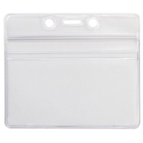 "3.63"" x 2.5"" Clear Vinyl Horizontal Badge Holder with Zip Closure - 100pk (506-ZHOS-CLR) Image 1"
