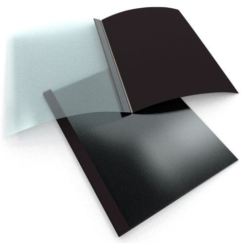 "3/8"" Black Linen Thermal Binding Utility Covers - 100pk (BI380BK) Image 1"