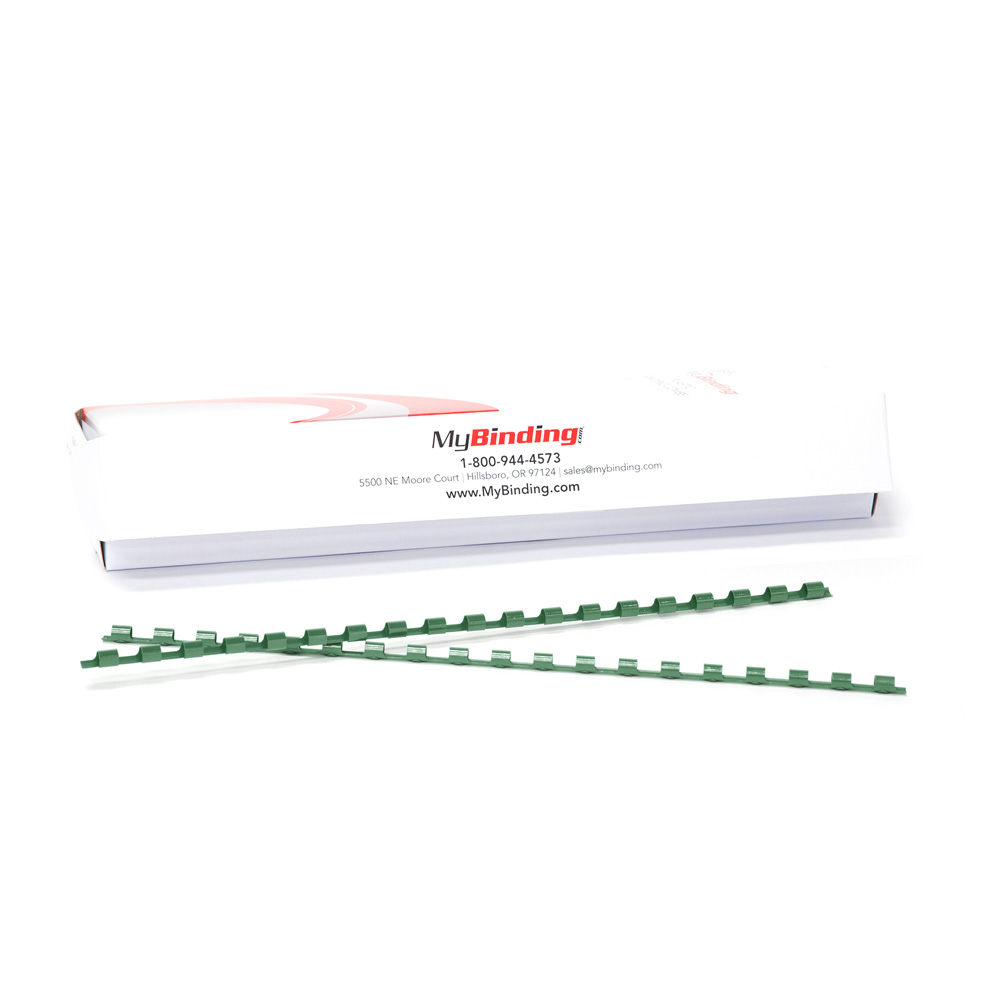 "3/8"" Hunter Green Plastic Binding Combs - 100pk (PC380FG) Image 1"