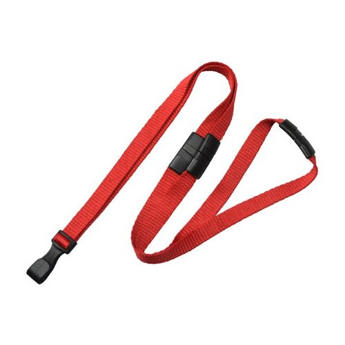 "3/8"" Red Microweave Lanyard With 3-Breakaways and Wide Plastic No-Twist Hook - 100pk (2137-3006) Image 1"