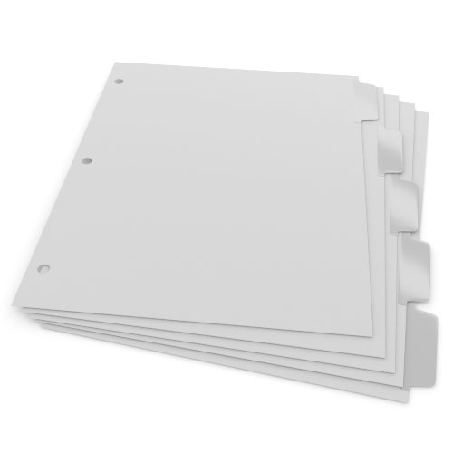 1/5th Cut 3-Hole Punched Mylar Coated Straight Collated Copier Tabs (Sample Pack) - 50 Sheets (XT5RC3HPSAMPLE), Index Tabs Image 1