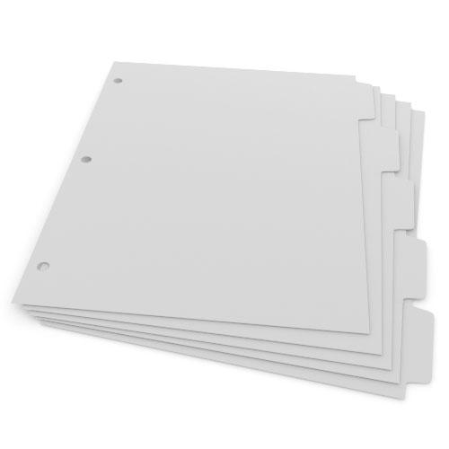 1/5th Cut 3-Hole Punched Plain Paper Straight Collated Copier Tabs (Sample Pack) - 50 Sheets (B905RC3HPSAMPLE), Index Tabs Image 1