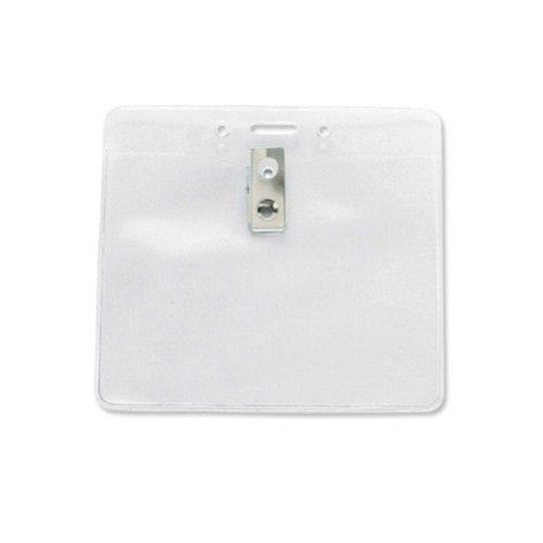 "3""x4"" Horizontal Clear Vinyl Badge Holders with Clips & Holes - 100pk (1815-1405)"