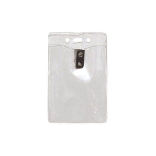 "3""x4"" Vertical Clear Vinyl Badge Holders with Clips & Holes - 100pk (1815-1455)"