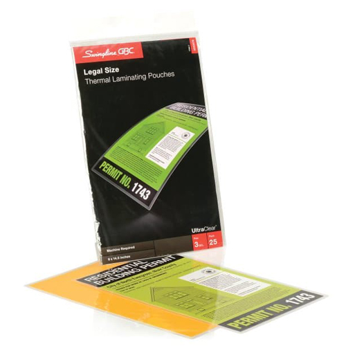 GBC Swingline 3mil UltraClear Legal Size Thermal Laminating Pouches 25pk (3200578) Image 1