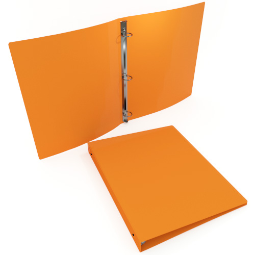 "1"" Orange 35 Gauge 11"" x 8.5"" Poly Round Ring Binders - 100pk (MYPBORG35100) Image 1"