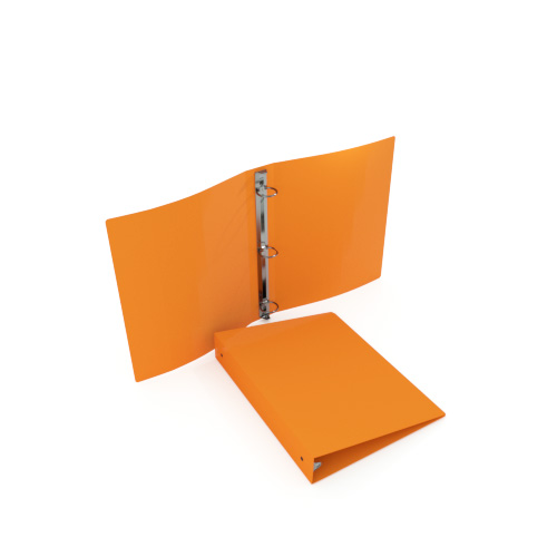 "1-1/2"" Orange 35 Gauge 5.5"" x 8.5"" Poly Round Ring Binders - 100pk (MYPBORG35112H) - $247.99 Image 1"