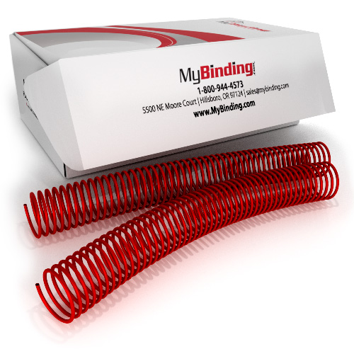 35mm Ruby Red 4:1 Pitch Spiral Binding Coil - 100pk (P111-35-12) - $113.09 Image 1