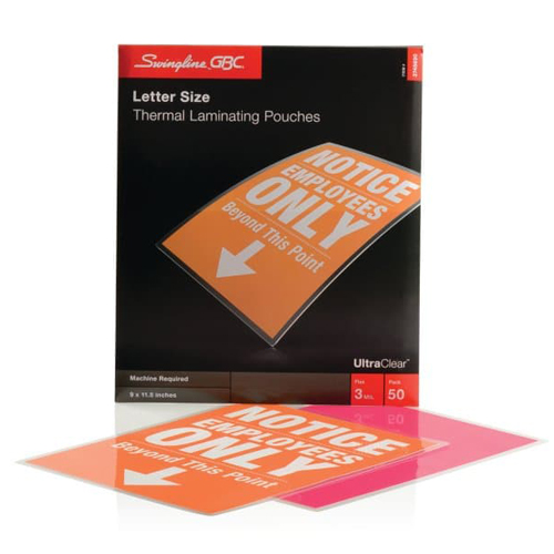 GBC Swingline 3mil UltraClear Letter Size Thermal Laminating Pouches 50pk - C (3745690) - $25.69 Image 1
