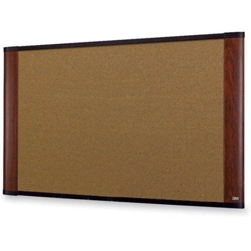 "3M 36"" x 24"" Cork Board with Mahogany Finish Frame (C3624MY) Image 1"