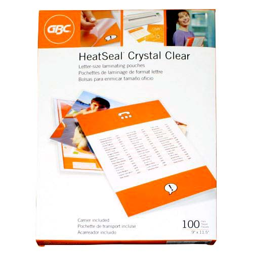 GBC 3mil HeatSeal Crystal Clear Letter Size Pouches 100pk (3200400) - $28.99 Image 1