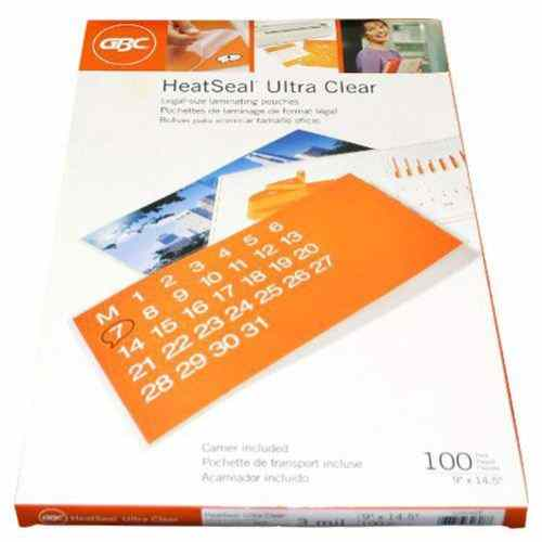 GBC 3mil HeatSeal Ultra Clear Legal Size Laminating Pouches 100pk (3200408) Image 1