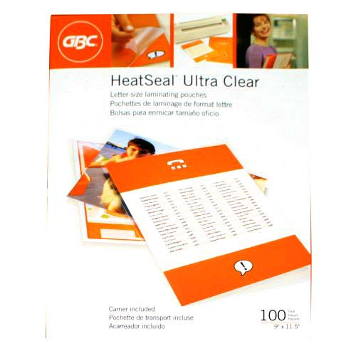 GBC 3mil HeatSeal Ultra Clear Letter Size Pouches 100pk (3200401) Image 1