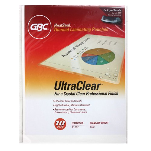 GBC 3mil HeatSeal Ultra Clear Letter Size Pouches - 10pk (3200575) Image 1