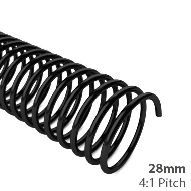 28mm 4:1 Pitch Plastic Spiral Binding Coil - 100pk (MYSBC4-28MM) Image 1