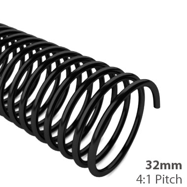 32mm 4:1 Pitch Plastic Spiral Binding Coil - 100pk (MYSBC4-32MM) Image 1