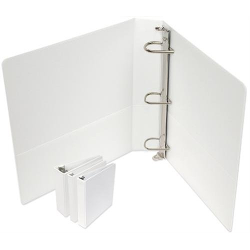 "4"" Standard White D-Ring Clear Overlay View Binders - 6pk (SDRCV400WH) Image 1"