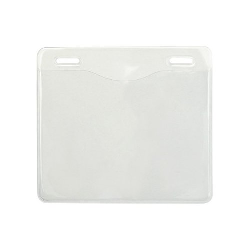 "4"" x 3"" Event Size Clear Vinyl Horizontal Badge Holders with 2 Slot Holes - 100pk (1815-1401) Image 1"