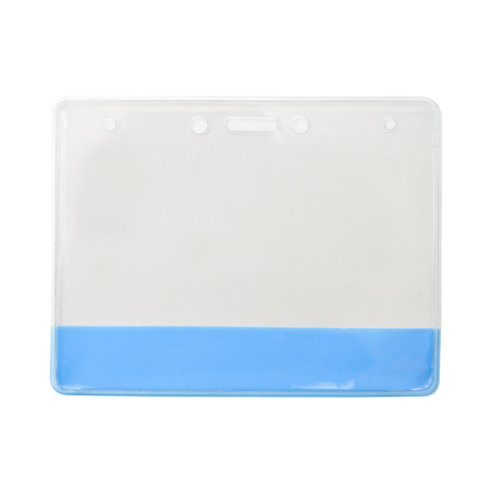 "4"" x 3"" Vinyl Horizontal Badge Holder with Translucent Blue Bar - 100pk (304-CB-BLU) Image 1"