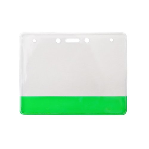 "4"" x 3"" Vinyl Horizontal Badge Holder with Translucent Green Bar - 100pk (304-CB-GRN) Image 1"