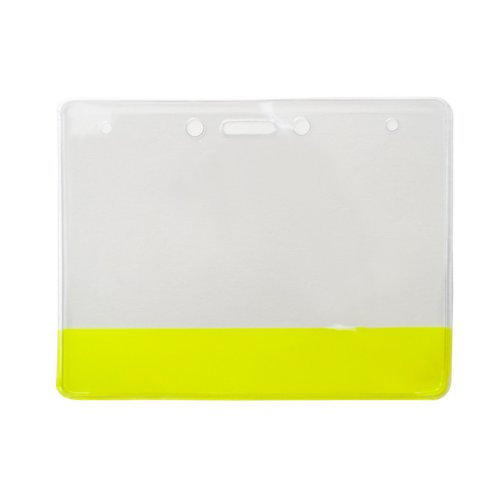 "4"" x 3"" Vinyl Horizontal Badge Holder with Translucent Yellow Bar - 100pk (304-CB-YLW), Id Supplies Image 1"